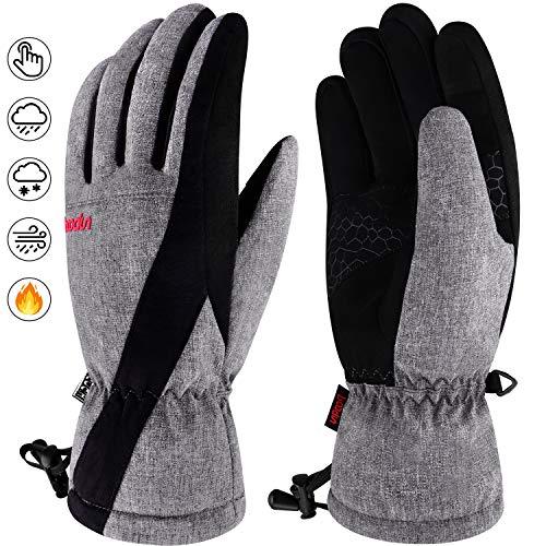 boildeg Winter Handschuhe,Ski Handschuhe Touchscreen Warme wasserdichte rutschfest Atmungsaktiv für Outdoor-Sport wie Skifahren und Radfahren passen für Herren und Damen (GRAU, M)