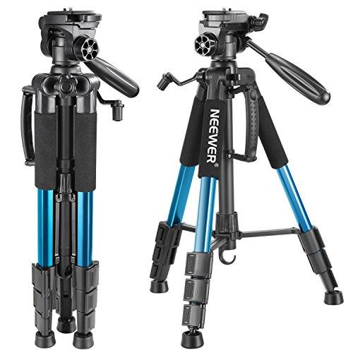 Neewer Treppiedi per Fotocamera Portatile 142cm in Lega di Alluminio con Testa Piatta Girevole in 3 Modi, Borsa di Trasporto per DSLR Fotocamera, Videocamere, Capacit di Carico 4KG,Blu(SAB234)