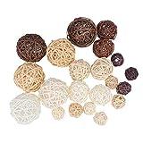 Artibetter 21pcs palle di rattan di vimini palline decorative riempitivi per vasi per decorazioni natalizie da tavola per feste di matrimonio (miste)