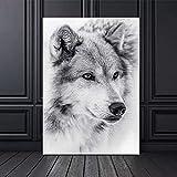 wojinbao Cartel de Arte nórdicoEstilo Moderno Blanco y Negro Cool Wolf Animal Canvas ng Carteles e Impresiones Cuadros de Pared para Sala de Estar Decoración Cuadros
