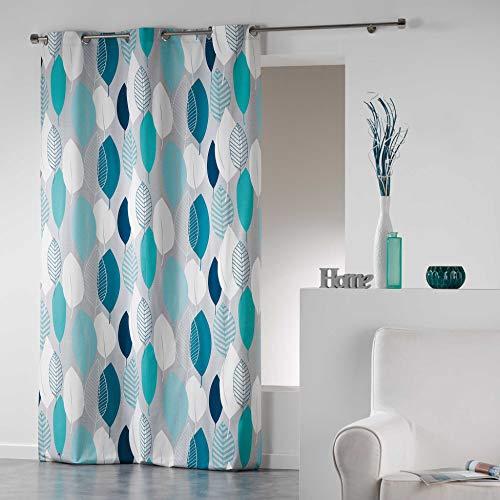 Rideau à œillets, Coton, Bleu, 140 cm x 240 cm