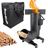 Camping Rocket Stove by StarBlue with FREE Carrying Bag - A Portable Wood Burning Camping Stove with Large Fuel Chamber Best for Outdoor Cooking, Camping, Picnic, BBQ, Hunting, Fishing