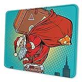 Papá Noel con una Maleta Trepa Alfombrilla de ratón Alfombrilla de Goma Antideslizante Alfombrilla de ratón para Juegos
