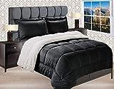 Elegant Comfort Premium Quality Heavy Weight Micromink Sherpa-Backing Reversible Down Alternative Micro-Suede 3-Piece Comforter Set, King, Black
