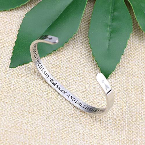 Joycuff Inspirational Bracelets for Women Hidden Message Mantra Cuff Bangle Stainless Steel Friend Encouragement Gift