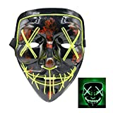 SZMAITOU LED Halloween Mask EL Wire Mask Flashing Cosplay Costume LED Masks Glowing Masks for Halloween Christmas Festival Parties Bar Acting - Green Light