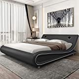 Amolife Modern Upholstered Bed Frame with Extra Speaker Space, Deluxe Solid Speaker Platform Bed, Mattress Foundation with Speaker Space, Adjustable Headboard,Grey,Full