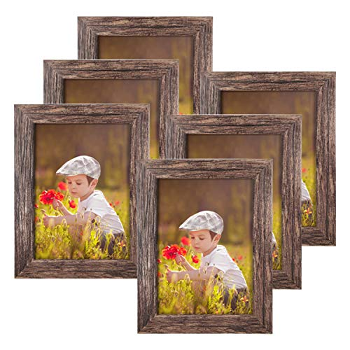 Q.Hou 5x7 Picture Frame Wood Pattern Rustic Brown Photo Frames...
