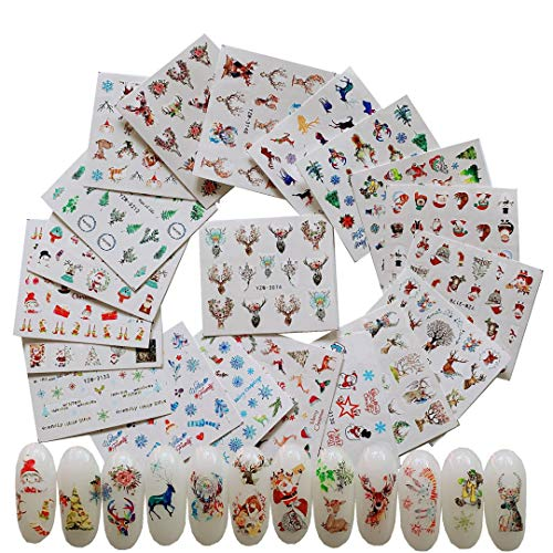 NAIL ANGEL 20 Sheets Nail Art Water Decals Water Transfer Sticker Different Patterns Christmas Series Snowflake Decals for fingernail and toenail Manicure(20sheets) 10060