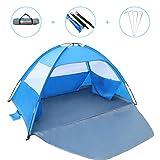 Gorich [2019 New] Beach TentUV Sun Shelter Lightweight Beach Sun Shade Canopy Cabana Beach Tents Fit 3-4 Person