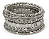 SPUNKYsoul Handmade Bohemian Coil in Silver Bracelet for Women Collection