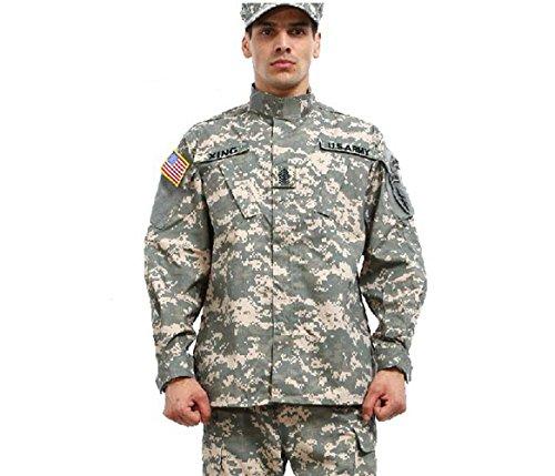 Noga - Traje de chaqueta y pantalón de camuflaje, de combate, de campo, de uniforme militar, para juegos, paintball, Verano., color - Acu Camo, tamaño L