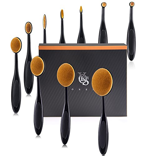 Yoseng Makeup Brush Set of 10Pcs New Fashionable Super Soft Professional Oval Toothbrush Foundation Contour Powder Blush Conceler Eyeliner Blending Brush Cosmetic Brushes Tool Set with Box (Black)
