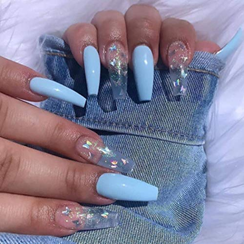Fairyu Glossy Long Press on Nails Blue Coffin Fake Nails Summer Butterfly Ballerina False Nails Artificial Nails for Women and Girls 24PCS (Blue Butterfly)