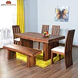 Mamta Decoration Sheesham Wood Dining Set for Living Room | with Four Chair and One Bench | Honey Finish