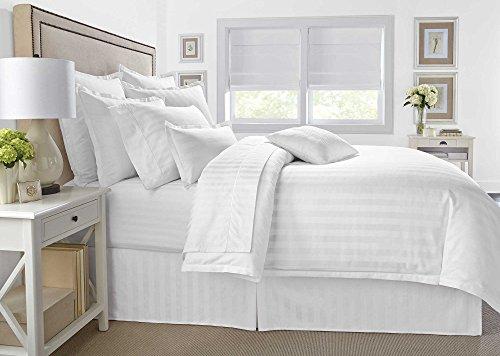 Wamsutta 500 Thread-Count PimaCott Damask Stripe Duvet Cover Set (King, White)