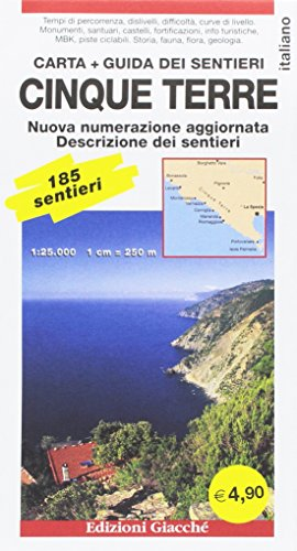 Cinque Terre. Carta. Guida dei sentieri. 185 sentieri, scala 1:25.000