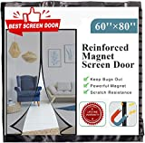 [Upgrade Version] Fiberglass Mesh Magnetic Screen Door Curtain, Mkicesky Double Patio Mesh Cover for French/Sliding Door with Full Frame Hook&Loop Fit Door Up to 58'x 79' Max - Newest 9.84' Magnet