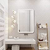 TinyTimes 22'×35' Large Wood Framed Wall Mirror, Rounded Corner, Rectangular Mirror, Home Decor, Hangs Horizontal or Vertical, for Vanity, Entryways, Bathroom, Bedroom Dresser Mirror -White