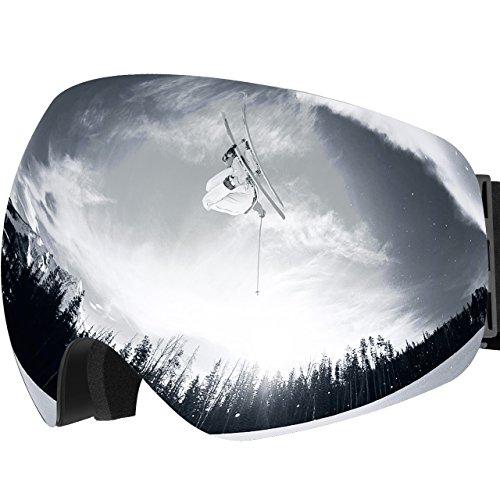 OMORC Maschera da Sci,Occhiali da Sci Snowboard Antivento Anti Fog UV 400 Protezione con Staccabile Grandangolare Lenti Goggles Ampio Angolo di Visione