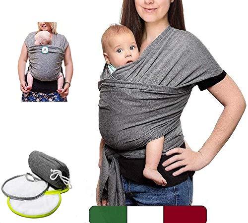BabyTools Fascia Porta Beb (100% MADE IN ITALY) con 2 BAVAGLINI in Regalo - Marsupio Neonati Bambini in Cotone ORGANICO - Fascia Neonato Bambino in Tessuto Morbido,Leggero,Certificato fino a 15 Kg