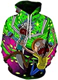 Chaos World Felpe con Cappuccio Uomo 3D Funny Cartoon Felpa con Stampa Hoodie Unisex Pullover Sweatshirt (Ricciolo Verde,M(Tag L))