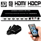 HDMI Switch 5x1 hdmi switcher 5 in 1 Out 4K@30hz HDMI switch selector 5 Port Supports 1080P Ultra HD 4K Full HD 3D ARC with Remote Control