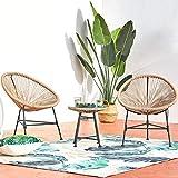 CONCEPT USINE - Ensemble 2 Fauteuils Oeuf + Table Basse Ronde Beige Design Acapulco Rotin Naturel - Cordes en Polyéthylène Résistant - Revêtement en Poudre Epoxy - Hamac Assis - Waterproof, Anti UV