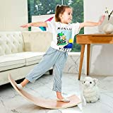 HAJACK Wooden Balance Board, Wobbel Curvy Board for Kids&Adults, Natural Wood Rocker Board, Great Kids Learning Toy for Body Training , Exercise and Physical Therapy for Home &Classroom(35 Inch Size)