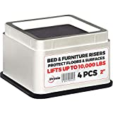 iPrimio Bed and Furniture Risers  4 Pack Square Elevator up to 2 Per Riser and Lifts up to 10,000 LBs - Protect Floors and Surfaces  Durable ABS Plastic and Anti Slip Foam Grip  Stackable  White
