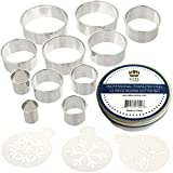 Ultra Cuisine Round Cookie Biscuit Cutter Set - 11 Graduated Circle Pastry Cutters for Donuts & Scones Heavy Duty Commercial Quality 100% Stainless Steel Metal Ring Baking Molds with 3 Cookie Stencils