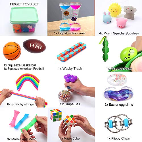 24-Pack-Bundle-Sensory-Fidget-Toys-Set-Liquid-Motion-TimerGrape-BallMochi-SquishyStretchy-StringFlippy-ChainEaster-EggMarble-MeshSqueeze-BeanCube-for-Autistic-Kids-ADHD-Anti-stress-Toys