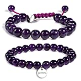 JADENOVA 8/10mm Natural Amethyst Gemstone Bracelet Elastic Stretch Yoga Beaded Bracelet Bangle Healing Crystal Bracelet Couples Gifts for Men Women (2pcs Bracelet Set)