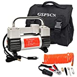 GSPSCN Silver Tyre Inflator Heavy Duty Double Cylinders with Portable Bag, Metal 12V Air Compressor Pump 150PSI with Adapter for Car, Truck, SUV Tyres, Dinghy, Air Bed etc
