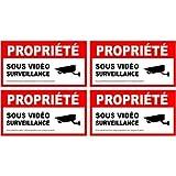 alarme propriété sous vidéo surveillance lot de 4 logo 5669 autocollant...