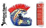 Helmet Hawks Motorcycle Helmet Mohawk w/Sticky Hook and Loop Fastener Adhesive - Candy Red