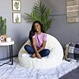 AirCandy Mongolian Faux Fur Ivory White Inflatable Chair, Premium Quality, Softer, Fluffier Fur, Contemporary Accent Chair for Bedroom, Dorm, Living Room, Gaming, Removable and Washable Fur Cover