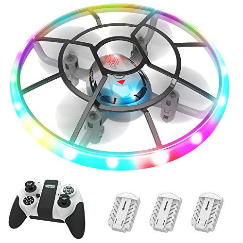 HASAKEE Q7 Mini Drone per Bambini,Elicottero Telecomandato con Luci e 3 Droni Batterie,RC Droni Con Rotazione a 360 e Modalit Senza Testa,Regalo Per Ragazzi Ragazze Bambini Principianti