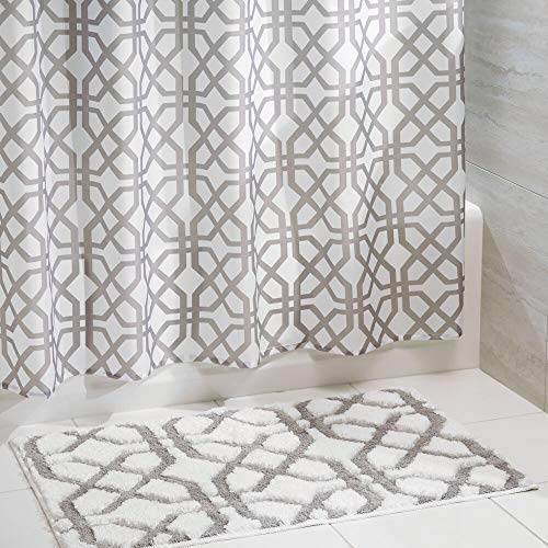 mDesign Fretwork Fabric Shower Curtain and Microfiber Bathroom Accent Rug - Set of 2, White/Stone Gray