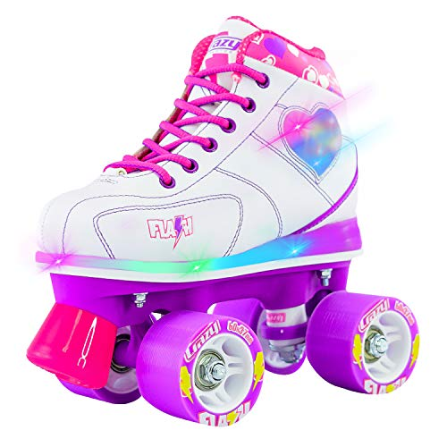 Crazy Skates Flash Roller Skates for Girls - Light Up Skates with Ultra Bright LED Lights and Flashing Lightning Bolt - White Patines (Size 1)