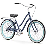 sixthreezero EVRYjourney Women's Single Speed Step-Through Hybrid Cruiser Bicycle, 26' Wheels and 17.5' Frame, Navy with Black Seat and Grips