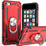 iPod Touch 7 Case,iPod Touch 6 Case with Car Mount,SLMY Hybrid Rugged Shockproof Cover with Built-in Kickstand for Apple iPod Touch 5 6 7th-Red