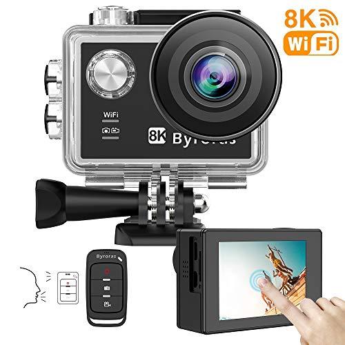 Byroras 8K/15fps Action Cam 4K/60ps Videocamera 20MP Action Camera WiFi 2.0'' Touch Screen Comando Vocale 40m Fotocamera Subacquea Ultra HD Grandangolare 170 ° con Telecomando e 2 Batterie 1050mAh