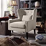 Rosevera C15-1 Liviana Tufted Wingback Club Chair with Back Cushion, Beige