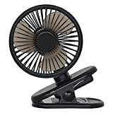 Atopov USB Desk Fan Clip on Fan 3 Speeds Fast Air Circulating Table Mini Fan, 2500mAh Rechargeable Battery, Hook at the bottom, Sturdy Clamp Portable for Outdoor Camper Golf Cart or Treadmill Desk