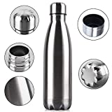 Allenshop Stainless Steel Water Bottle Double Wall Vacuum Insulated Steel Thermo Flask, Hot and Cold Water Bottle for Indoor Outdoor Sports (Silver,1000ml)