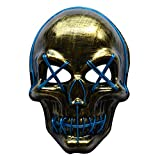 Halloween LED Mask Scary Costume Festival Cosplay Masks for Adults Kids Men Women (Blue Skull)