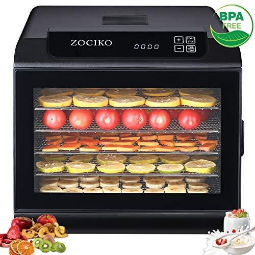 zociko Dörrautomat mit 6 Etagen aus Edelstahl Temperaturregler 35-70℃ LED-Anzeige mit Timer Dörrgerät für Lebensmittel, Obst- Fleisch- Früchte-Trockner Jerky Dehydrator BPA-frei Auto-Off 500W
