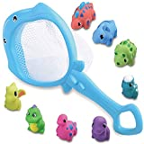 ReechTree Fishing Dinosaur Baby Bath Toy Net for Toddlers Age 1 2 3 Year Old Boys, Funny Bathtub Toys Gift for Birthday or Christmas. Including 1 Fishing Net and 8 Floating Squirt Dinosaur Toys