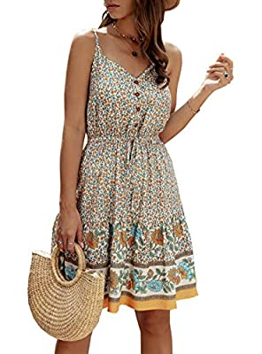 -The Unique Design of This Loose Short Dress: Adjustable Spaghetti Strap,Deep V Neck,Floral Print Mini Dress,Button Down Short Dress,Sleeveless,Backless,High Elastic Waist,Tie Waist,Ruffle Hem,Loose Fitting,Lightweight,Ruched,Above Knee,A Line Swing ...